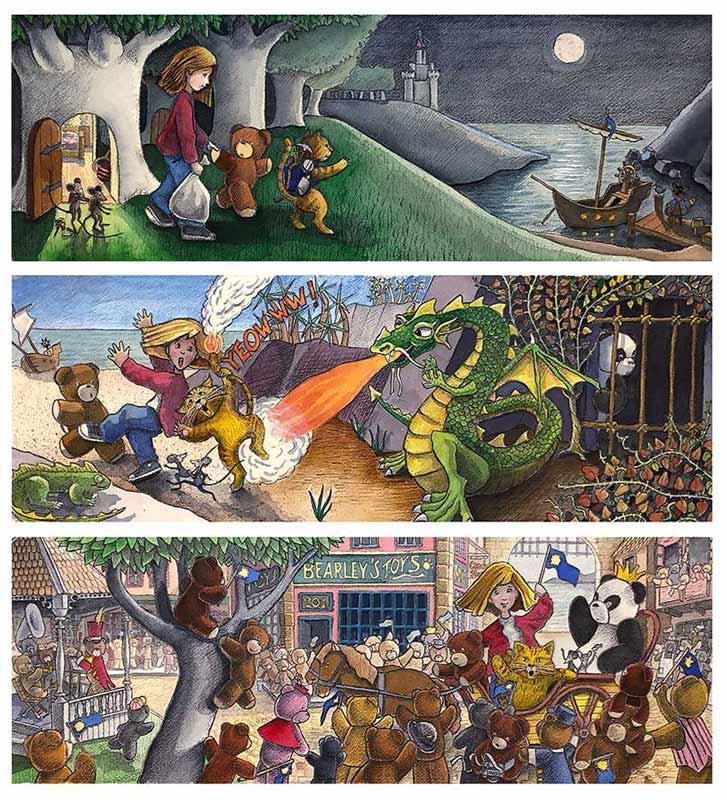 Teddy Bear Adventure Triptych © 1996 Randy Mott